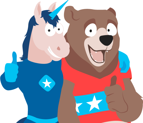 Unicorn and Bear Mascot