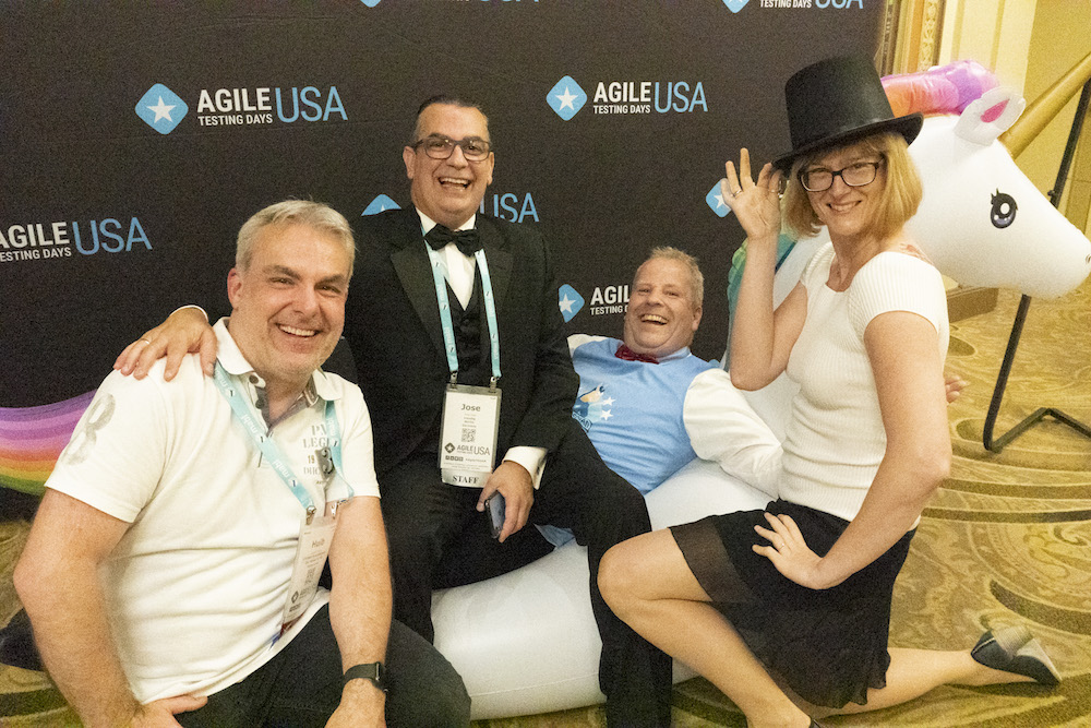 Fun with Bart Knaack, Huib Schoots, Alex Schladebeck and unicorn-shepherd José Diaz at Agile Testing Days USA 2019
