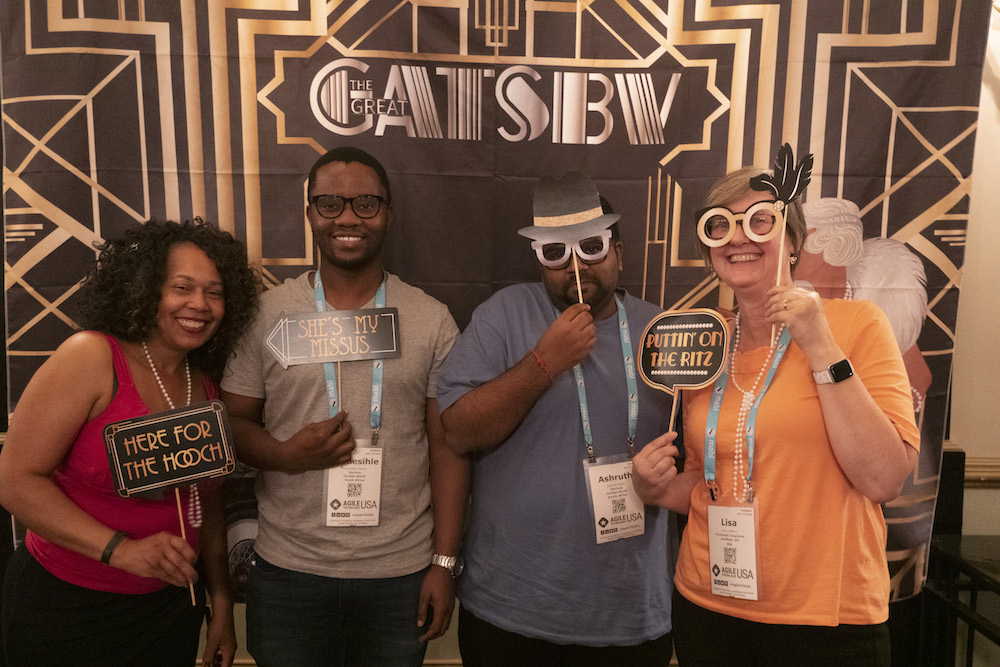Attendees party like its 2019 at the Roaring Twenties Costume Party at Agile Testing Days USA 2019