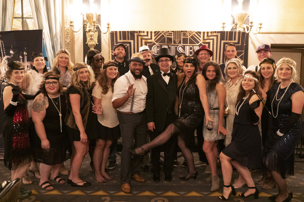 The ATD USA team enjoying the Roaring Twenties Costume Party at Agile Testing Days USA 2019